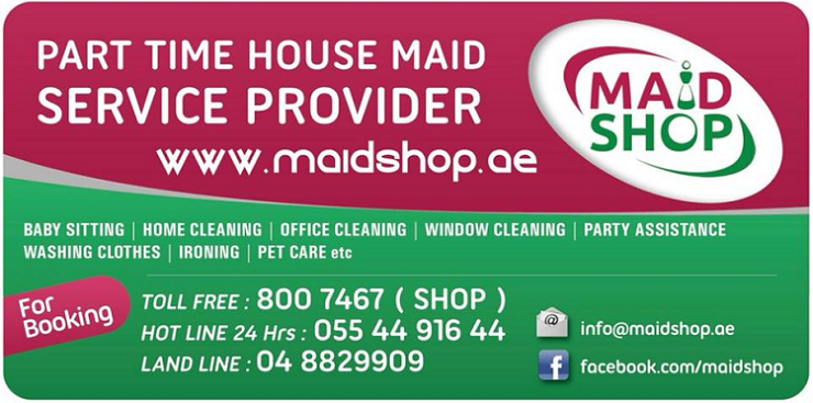 Maid Shop provides House Cleaning, Office Cleaning, Kitchen Cleaning, Floor Cleaning, Baby Sitting, Pet Care, Party Help, Washing Clothes and Ironing services.