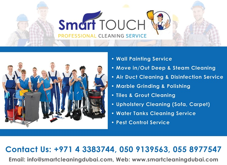Smart Touch Cleaning Services provides Commercial Cleaning, Residential Cleaning, Construction Cleaning, Air Duct Cleaning, Wall Painting Services, Move In & Out Cleaning, Window Cleaning, Kitchen Duct Cleaning, Pest Control Service, Floor Grinding Services, Steam Cleaning, Office Cleaning, Marble Floor Polishing, Upholstery (Sofa & Carpet) and Water Tank Cleaning.