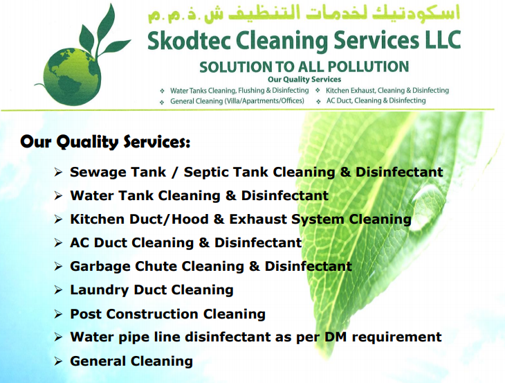 Skodtec Cleaning Service provides Water Tank Cleaning & Disinfection, Kitchen Duct / Hood & Exhaust System Cleaning, Laundry Duct Cleaning, AC Duct Cleaning & Disinfection, Garbage Chute Cleaning & Disinfection, Sewage Tank / Septic Tank Cleaning