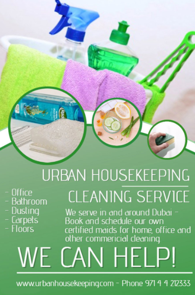 Urban Housekeeping Cleaning Services provides  House Cleaning, Office Cleaning, Upholstery/Sofa Cleaning, Babysitting/Nanny Services, Steam/Carpet Cleaning, Move In & Out Cleaning Services, Event/ Dinner help.