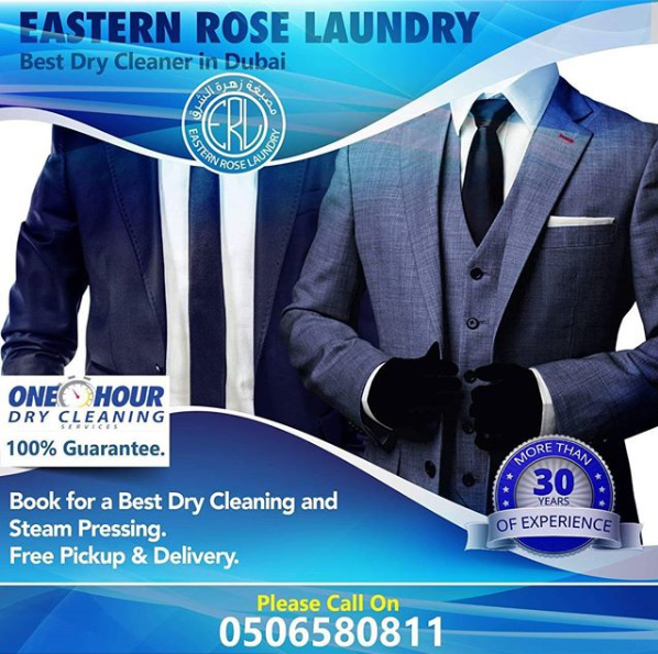 Eastern Rose Laundry - We understand that sometimes, time is of the essence and we can even dry clean your clothes within 1 hour if you come to our workshop in Al Quoz! Although we have 6 branches around Dubai to allow our many customers to be able to bring us their clothes, we a have a completely free pick up and delivery service for you to take advantage of.